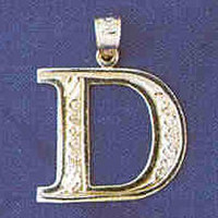 14K WHITE GOLD INITIAL CHARM - D #11568
