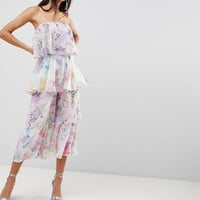 ASOS Tiered Jumpsuit in Mixed Florals at asos.com