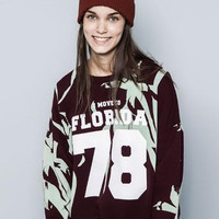 Red Wine Letters and Number 78 Print Knit Long Sleeve Sweater