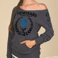 TriWizard Tournament Harry Potter WOMANS MANIAC SWEATSHIRT Heather Grey - Blue Flame of the Goblet of Fire Spits Out Harry Potter's Name
