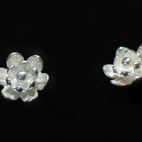 Handmade 3D Silver Flower Earring, 925 Silver Ear Studs, Teenage, Valentine, Bridemaid, Bridal, Wedding