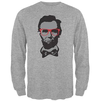 Abraham Lincoln Hipster Geek Glasses Heather Grey Adult Long Sleeve T-Shirt