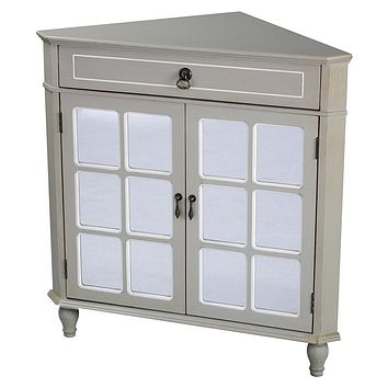 """Display Cabinet - 31"""" X 17"""" X 32"""" Taupe MDF, Wood, Mirrored Glass Corner Cabinet with a Drawer and Doors"""