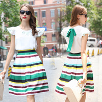 White Butterfly Sleeve Chiffon Blouse and Multi Color Striped Midi Skirt