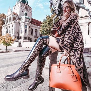 FENDI Logo-jacquard stretch-knit and leather over-the-knee boots