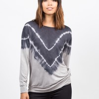 Tie-Dye V Tunic Sweater