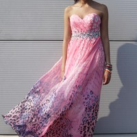 Leopard Print Grecian Long beaded dress from Ruby Prom and Party