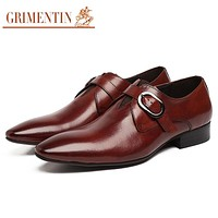 Italinan mens shoes pointed toe buckle strap black brown business wedding fashion male shoes men footwear