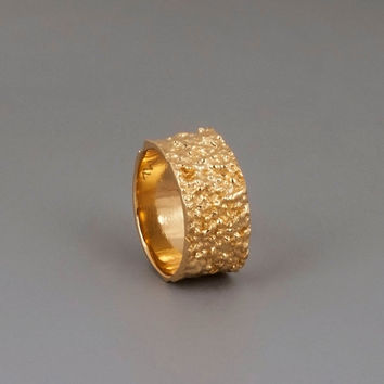 Wide Gold Band Ring; Unique Mans Ring ; Womens Ring; Chunky Gold Ring; Boho Ring; Statement Ring; Wedding Ring, Cluster Ring - Lava Ring