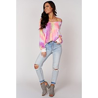 Galactic Disco Tie Dye Long Sleeve Top (Blush/Lavender)