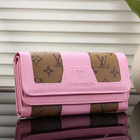 Louis Vuitton LV Women Fashion Leather Buckle Purse Wallet