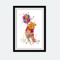Winnie the Pooh colorful poster Winnie the Pooh watercolor print Home decoration Kids room decor Nursery wall art print Christmas gift  W334