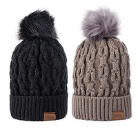 Women Winter Pom Pom Beanie Hat