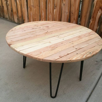 Circular reasoning: coffee table, rustic, vintage, reclaimed, side table living room table round table