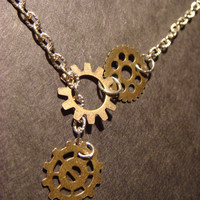 Steampunk Gear and Cog Lariat Style Necklace by CreepyCreationz