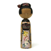 Vintage 5 inch Kokeshi Doll Nodder Bobblehead Wooden Japanese Folk Art Asian Doll Wearing Floral Kimono Geisha Hand Painted Wood Collectible