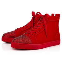 Christian Louboutin Cl Louis P Strass Men's Flat Strass/suede Loubi Sneakers - Best Deal Online
