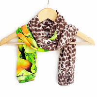 Different Lightweight Soft Leopard and Neon Green, Neon Yellow Scarf, Women Accessories