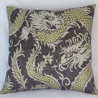 "Grey-Brown and Gold Dragon Pillow Cover, 17"" Square, Waverly Noir Linen Blend , Charcoal, Beige, Oriental Asian Decor, Cover Only"