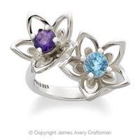 Double Star Flower Ring with Amethyst and Blue Topaz from James Avery