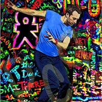 Coldplay Chris Martin Dancing, on a Mylo Xyloto Background, Digital Painting Art Print Poster