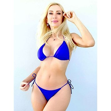 Blue Berry 3 Piece Set Triangle Top, Side Tie Thong & Side Tie Scrunch Bottom Bikini Swimsuit (Many colors available)