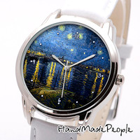 Wristwatch Vincent van Gogh Starry Night over the Rhone Painting, Unisex Wrist Watch, Watch for Woman, Watches for Men - Free Shipping