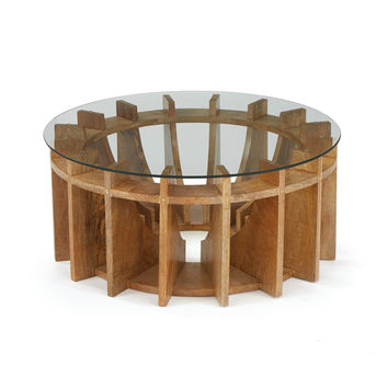 """Round """"Sundial"""" Wooden Coffee Table"""
