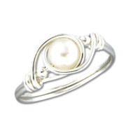 Wire Wrap Pearl Ring - Sterling Silver