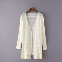 Linen Long-Sleeve Knitted Cardigan