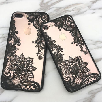 Fashion Sexy Lace Floral Paisley Flower Mandala Henna Clear Case For iphone 7 7plus /6 6S plus Phone Cases Back Cove Capa Fundas