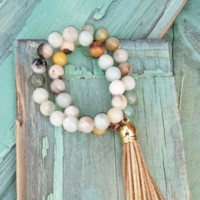 Double Strand AMAZONITE Beaded Bracelet With TASSEL 019S