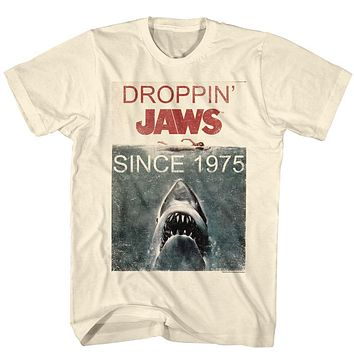 Jaws T-Shirt Droppin' Jaws Since 1975 Poster Natural Tee