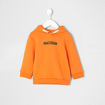 Mini boys orange 'Mayhem' print hoodie - baby boys tops - mini boys - boys