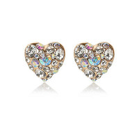 Gold tone embellished heart stud earrings - earrings - jewelry - women