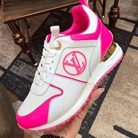 Louis Vuitton LV Run Away Sneaker Contrast Shoes White pink
