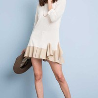 Hayden Clothing Tunic Top with Ruffle Hem in Tan H3287
