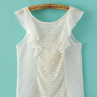 Ruffled Sleeve and Crochet Lace Accent with Back Lace Tie Chiffon Top