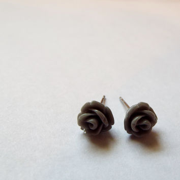 Tiny Gray Rose Stud Earrings Stainless Steel Posts Small and Pretty Gift idea