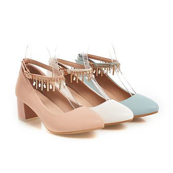 Round Toe Womens High Heel Shoes Ankle Straps Pumps Chains Dress Shoes