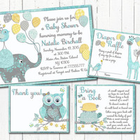 Neutral Baby shower printable invitation set elephant giraffe turtle girl boy digital invite with inserts Diaper Raffle yellow mint