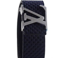 ONETOW Blue leather silver LV buckle belt