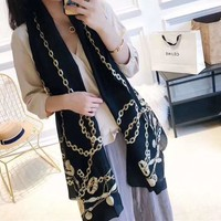 Woman Casual Fashion Classic Comfortable Double Sided Chain Coin Pattern Scarf
