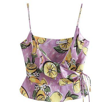 Lemon print tops with suspenders are a hit for women's wear