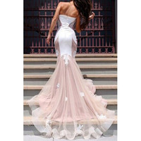 Sexy Strapless Sleeveless Spliced Appliques Embellished Women's Prom Dress LAVELIQ