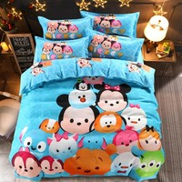 Disney Cartoon TSUM Children Bedding Set Duvet Cover/Flat Sheet/Pillow Cases Bed Linen for Children Home Decor 1.5m Bed