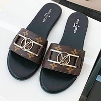LV Louis Vuitton Summer Fashionable Women Flat Slippers Sandals Shoes Coffee