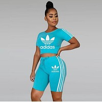 ADIDAS Fashion Women's Letter Print Fashion Casual Sports Suit Top Shorts
