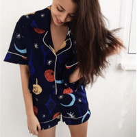 Summer New Fashion Print Casual Loose pajamas