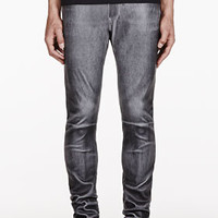 GREY WASHED LEATHER TROUSERS